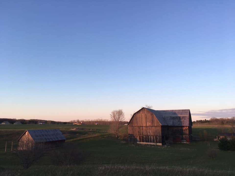 northern michigan farm at sunset