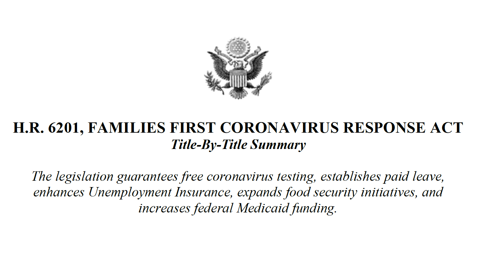 Families First Coronavirus Response Act Summary