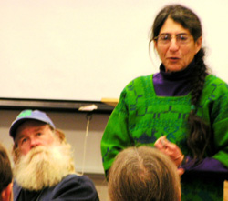 Elizabeth Henderson, who spoke about the history of community supported agriculture at last month's Kobe symposium, is seen here at the 2004 Michigan CSA.