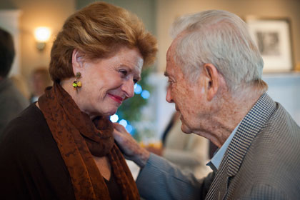 Former Michigan Governor William Milliken congratulates Senator Debbie Stabenow at the Michigan Land Use Institute's annual Milliken Dinner at Black Star Farms in Suttons Bay on July 27. Stabenow received MLUI's Helen Milliken Legacy Award, named in honor of Michigan's former first lady. (Photo: MLUI/Gary Howe)