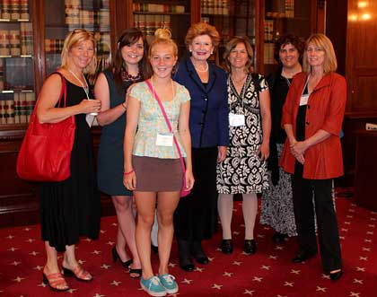 CCL members lobbied Washington lawmakers in June for a carbon tax. Northwest Michigan's delegation (left to right)--Kelly Lively, Mary O'Neil, Annie Lively,Elizabeth Dell, Lisa Del Buono, and Maura Brennan--met with Sen. Debbie Stabenow (center).