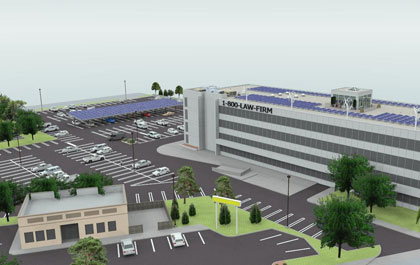 Srinergy, a Novi-based clean energy company, is installing solar panels, wind turbines, high-efficiency outdoor lighting, and electric vehicle recharging stations in the 1-800 building complex in Southfield, Mich. (Graphic courtesy Srinergy)