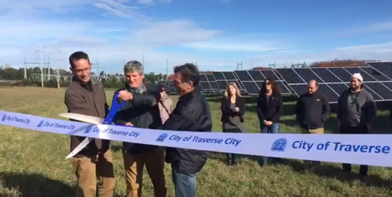 Clean energy advocates celebrate opening of Traverse City solar array