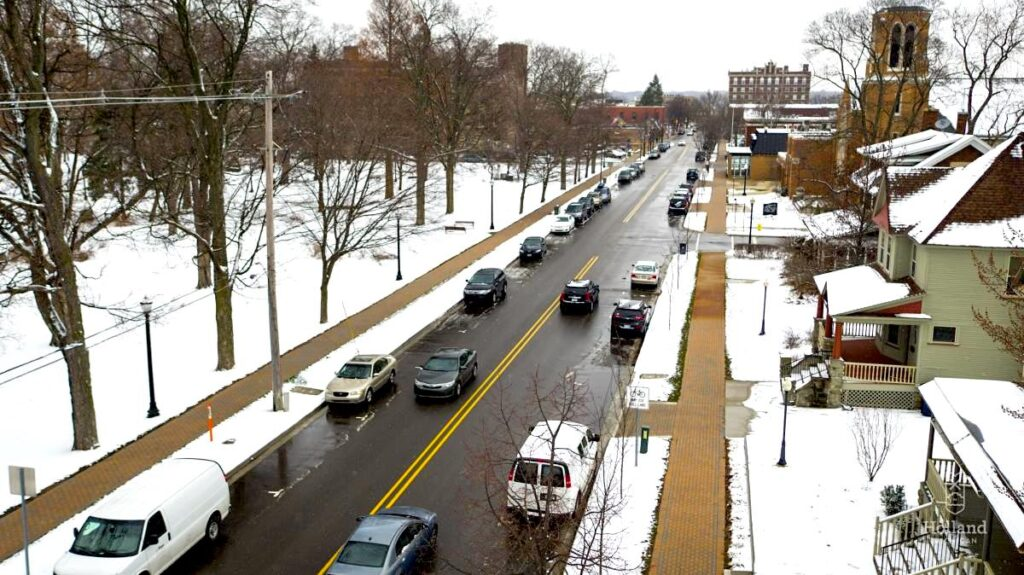 Holland, Michigan's sidewalk snowmelt system shown here in action. The city says it's the largest such system on the planet. Photo courtesy of City of Holland.